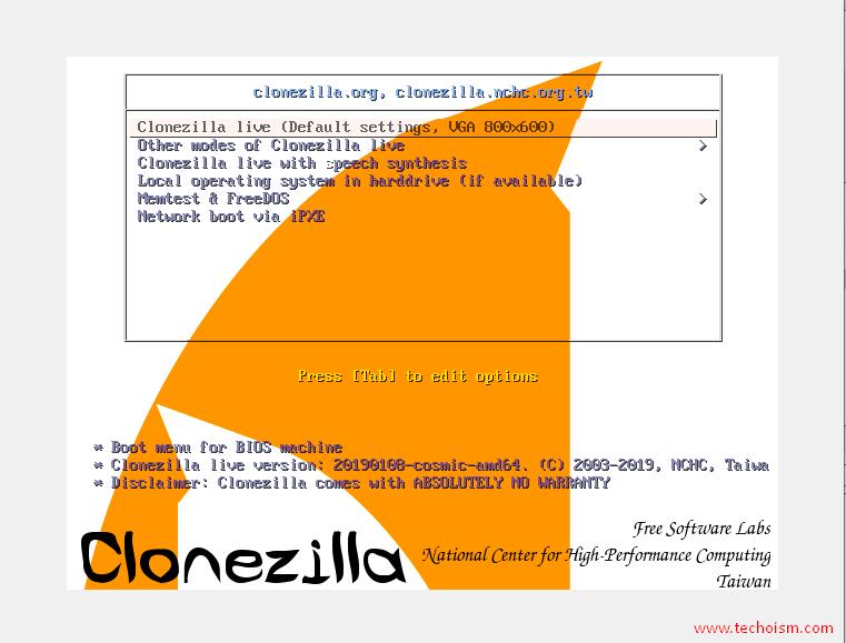 Clonezilla Install 1