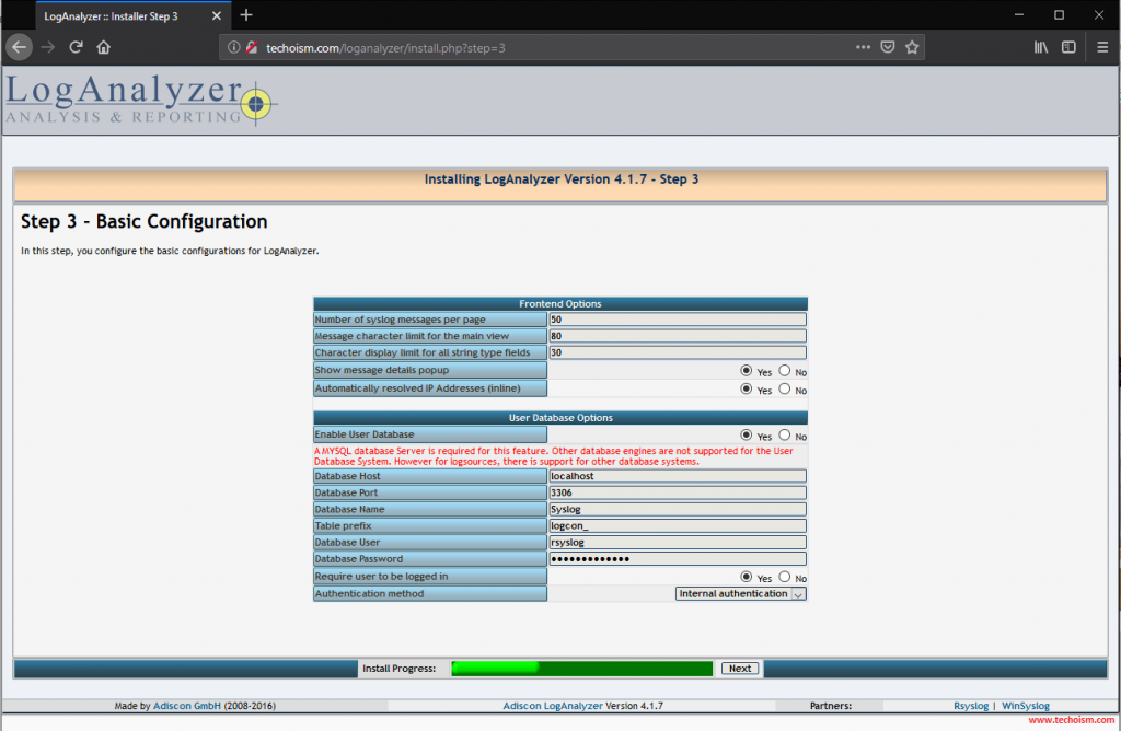 Install LogAnalyzer 3