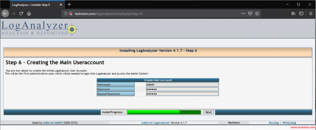 Install LogAnalyzer 6