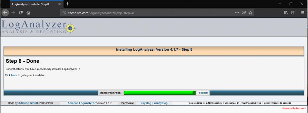Install LogAnalyzer 8